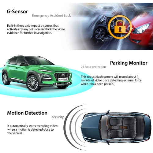 Rove R2-4K Dash Cam Built in WiFi GPS Car Dashboard Camera