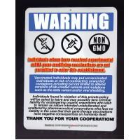 NO GMO HUMANS SIGN (aluminum 9x12 inch)